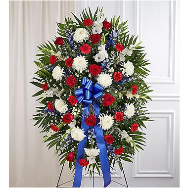 all-red-white-blue-sympathy-standing-spray-for-funeral-flowers